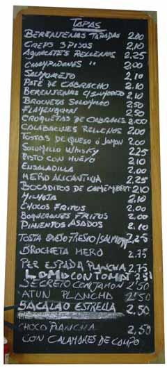 Llista de tapes del bar La Estrella