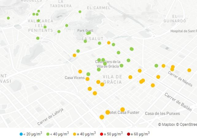 Mapa de contaminació d'escoles de Gràcia
